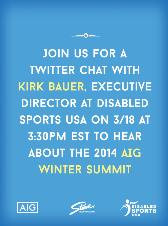 Want to know how @StoweMtResort teamed up with @DisabledSportUS? Ask that question & more with #ConnectWithKirk http://t.co/ryXdOBYeAy