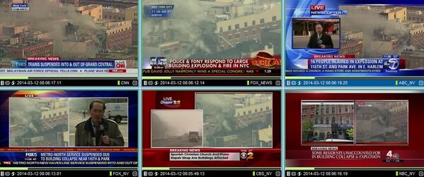 """#NY """"@tvbrendon: Wall to wall coverage of the explosion in #Harlem. http://t.co/XJppsCkjkY"""