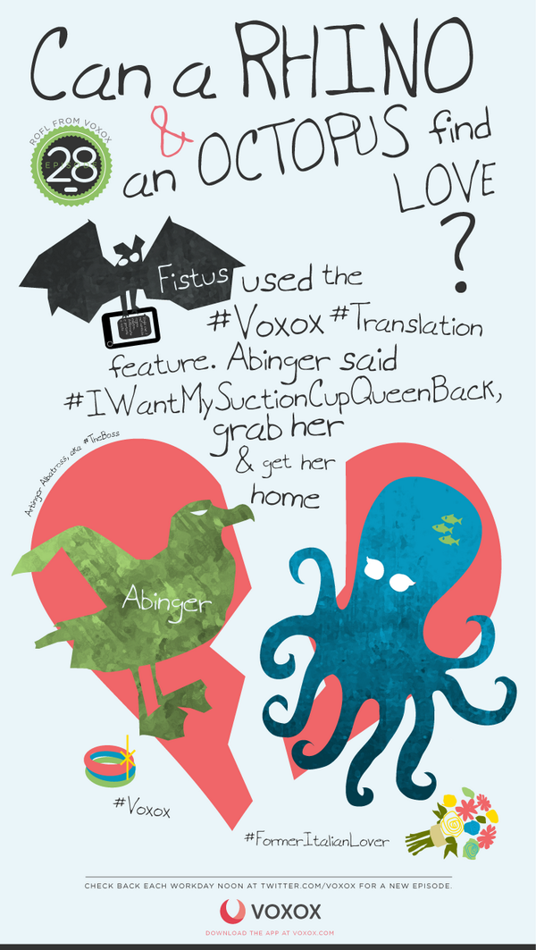 #ROFL -Fistus used the #Voxox #Translation feature. Abinger said #IWantMySuctionCupQueenBack, grab her & get her home http://t.co/XN4K9ZHsV9