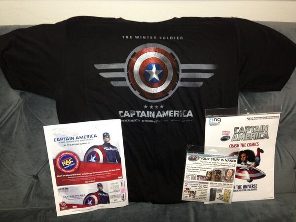 Want #captainamerica t-shirt plus certificate for 2 tix? RT this tweet & I'll pick one of u! #swag #wintersoldier http://t.co/CKCorR2Sz9