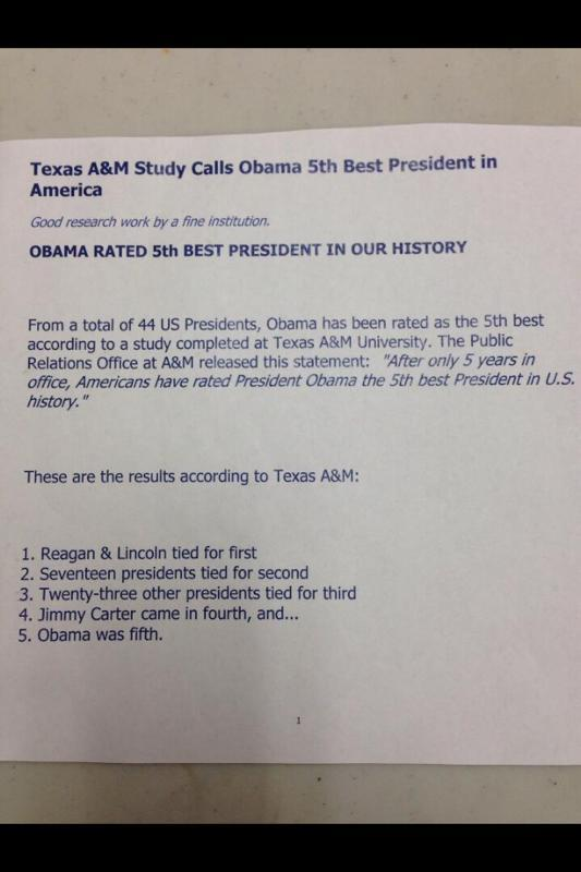 Texas A&M rates Obama the 5th best President. @DocThompsonShow @skiplacombe @ChrisSalcedoTX @FisherFiles @stuntbrain http://t.co/FeNnLKgycD