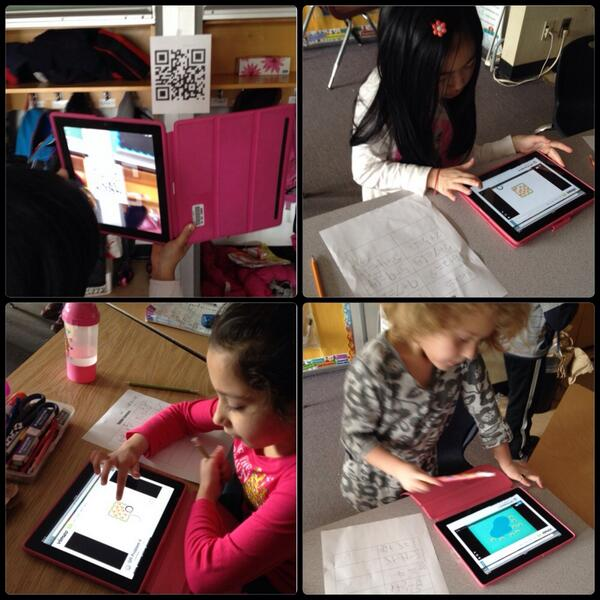 Using QR codes to find math problem, write number sentence then scan to check answers @georgesvanier36 #gvlearn http://t.co/CvjLTBVPYT