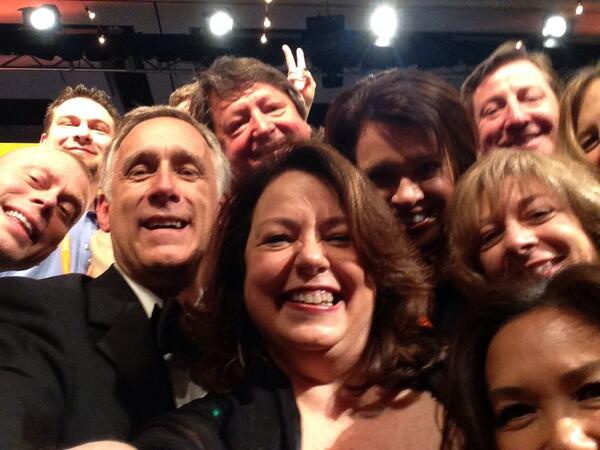 Our #TeradataSummit selfie! Oscar gold customers and rockin Apex Award winners. Here's to 2 mil tweets! http://t.co/Bs5Z8DrU5Z