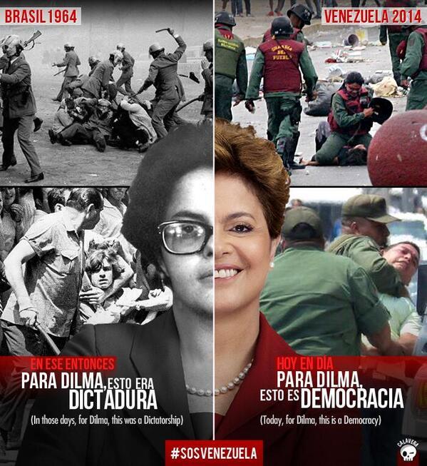 La presidenta de Brasil, Dilma Rousseff @dilmabr, luchó contra la dictadura en su juventud. Hoy la llama democracia http://t.co/jibozejEnE