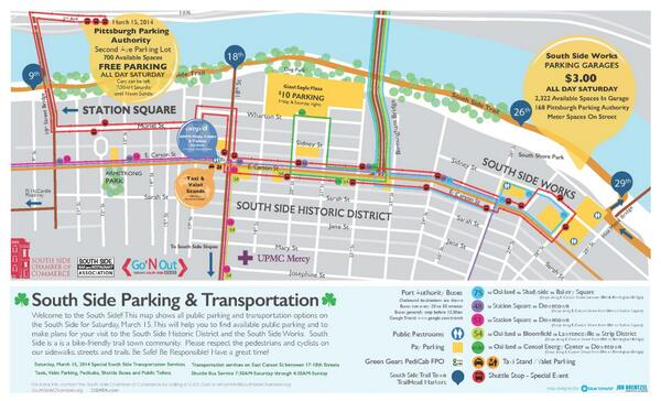 This weekend's parking & transportation map @southsidepgh. Please be kind to our vibrant neighborhood. Erin go bragh! http://t.co/mUl1A5ydm8