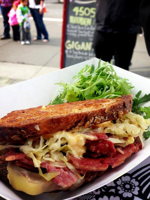 Here's said Reuben to get you excited about the corned beef deliciousness.  Get it @ the Ferry Building 10 am to 2 pm http://t.co/sd7yqItuze