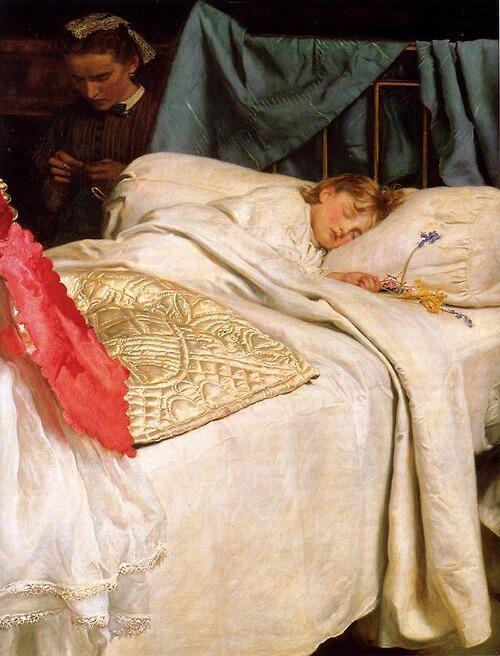 「眠り」1866年ジョン・エヴァレット・ミレイJohn Everett Millais, Sleeping