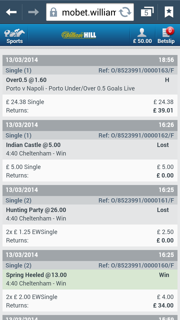 what does h mean on william hill settled bets