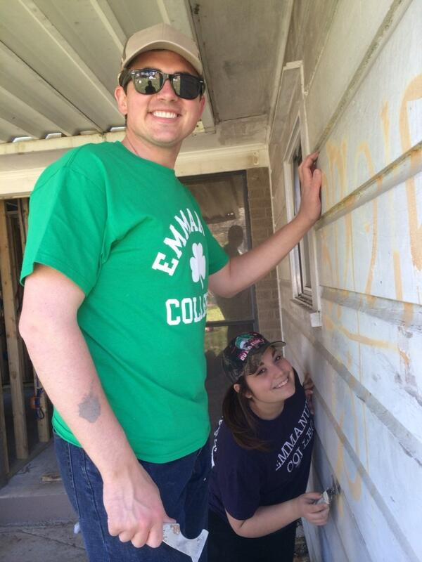Scraping off the Katrina quadrant from our house. #ECasb14 #NOLA @EmmanuelCollege http://t.co/tP0q9NFHqm
