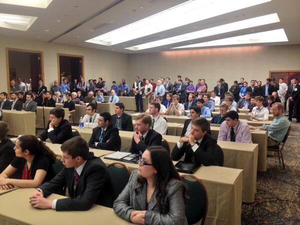Capacity crowd at #SABRanalytics for the announcement of the Diamond Dollars Case Comp winners. http://t.co/JyUVFIswNz