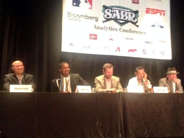 We're live at #SABRanalytics with @MannyActa14 @perezed @kirkgoldsberry @AaronBoone_ESPN & @espn's John Walsh. http://t.co/wGkSHEv4Pr