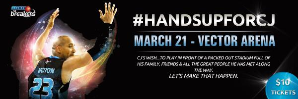 #HANDSUPFORCJ Pack the house 4 @CJBruton! Fri Mar 21 @TheVectorArena  Special $10 Ticket http://t.co/MU3RQnl8Rn http://t.co/6zxnS7Qe17