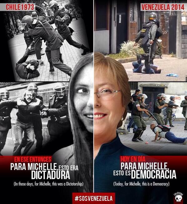 Presidenta de Chile, Michelle Bachelet @PrensaMichelle, de joven torturada por la dictadura, hoy la llama democracia http://t.co/BLagGfBUsR