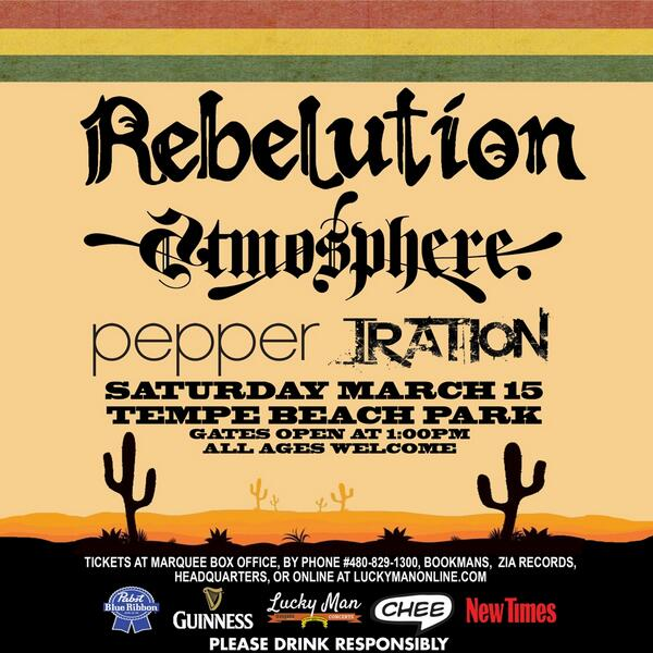 @RebelutionMusic @atmosphere @Iration @pepperlive @Katastro and more live at Tempe Beach Park this Saturday! #Chee http://t.co/yAAoBOCwcK