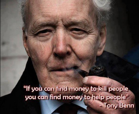 """If you can find money to kill people, you can find money to help people"" RIP Tony Benn. Such sadness http://t.co/zpEWkYGq5f"