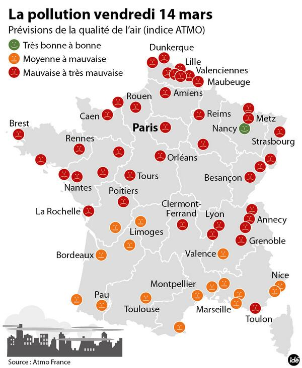Carte Pollution Bordeaux.Mytf1news On Twitter Pollution La Carte Des Regions Touchees Et