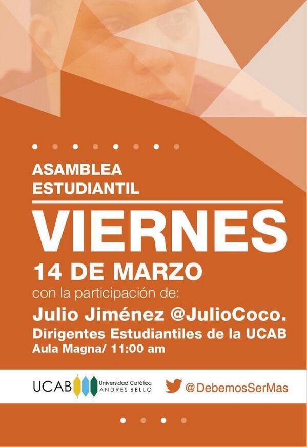 Hoy @Juliococo estará en la Ucab. Cecoso transmitirá EN VIVO audio de la asamblea. http://t.co/frkS3Tk6wt