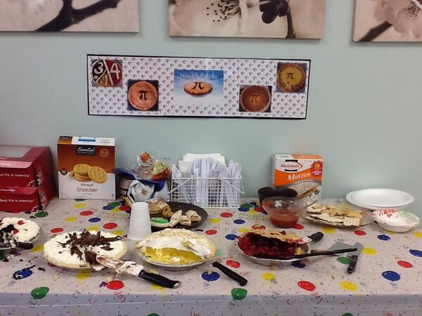 """@educationweek @EdWeekTeacher """"Pi""""e day in our teacher's lounge! Not a bad way to celebrate! #PiDay http://t.co/deeQ41k7kF"""