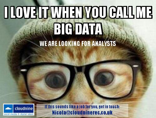 The lovely folks @CloudNineRec are looking for Analysts http://t.co/iwXsmoG4yu #measure #measurecamp