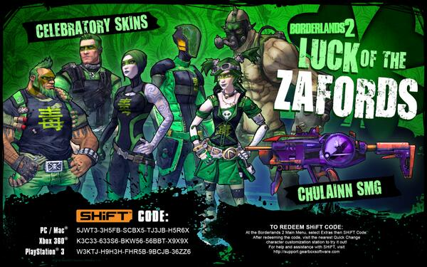 Show your Zaford pride by unlocking green and skins for your Vault Hunters. This time, with 100% more Krieg! http://t.co/cLXBlCBTNm