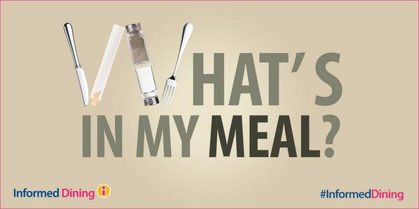 What's in my meal? Dine at #InformedDining restaurants. You could win: http://t.co/uqunuODWPz http://t.co/hWKcEKv7JP