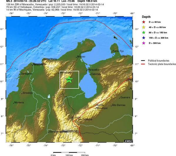 ATENCIÓN: Se registra sismo de 5.4 Mw a 76 km SE de Valledupar, Colombia Éste es el epicentro: http://t.co/YS2DTFKwhs