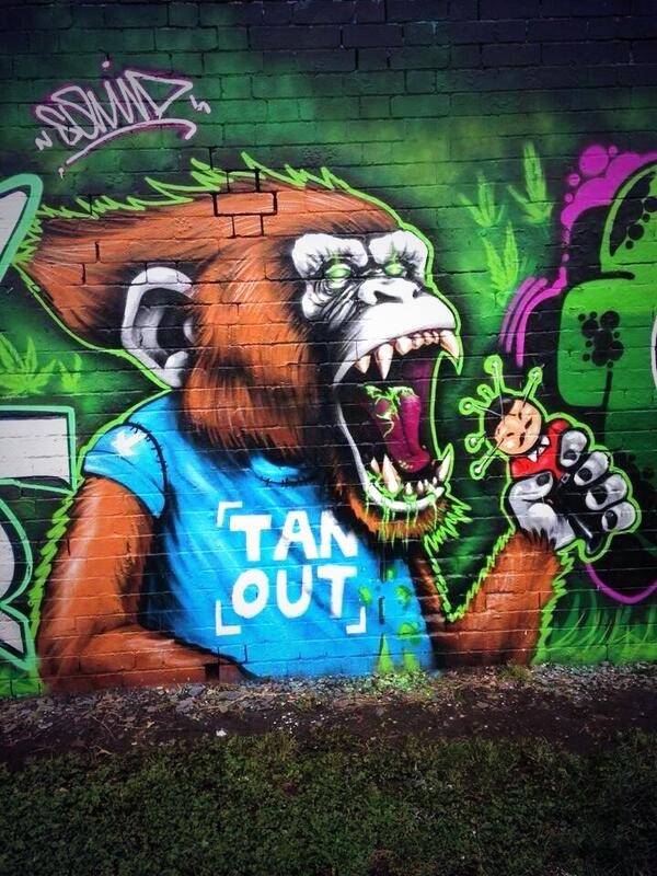 Cardiff fans Tan Out graffiti depicts a monkey eating maligned owner Vincent Tan [Picture]