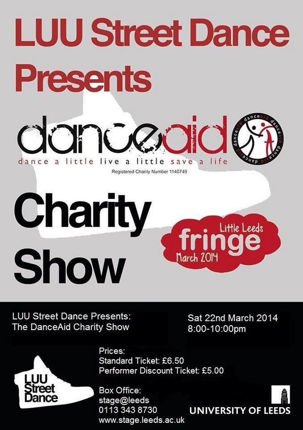 #LEEDS Dont miss @LUUStreetDance's show THIS SATURDAY 8pm @StageLeeds jus £6.50! #doitfordanceaid #BeTheDifference ❤