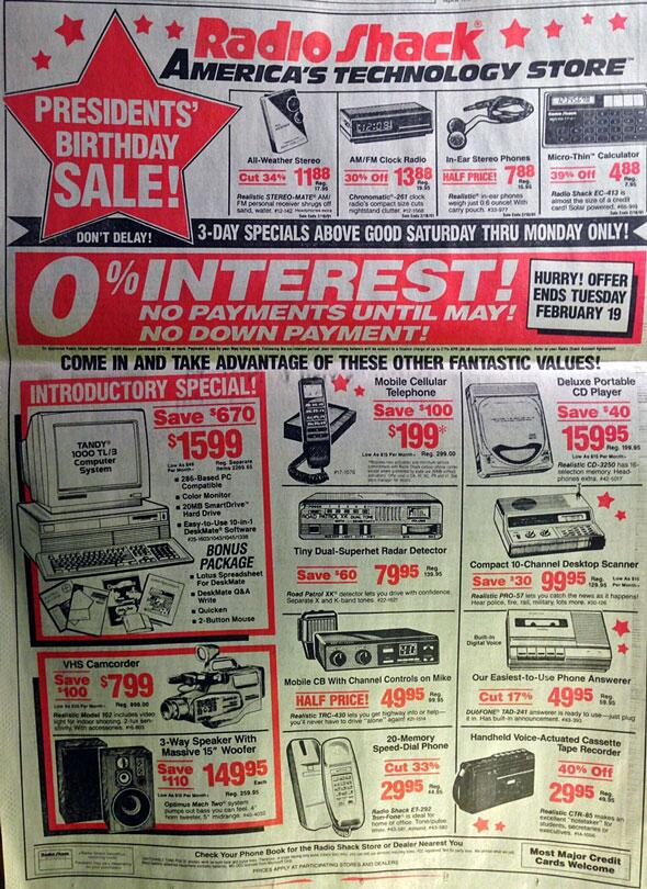 Everything in this 1991 RadioShack ad exists in a single smartphone! http://t.co/ymeJk51Ucf