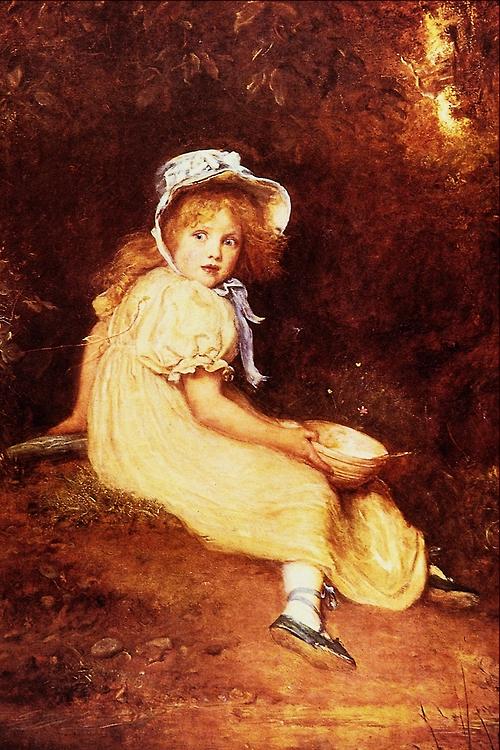 「小さなマフェットさん」制作年不明ジョン・エヴァレット・ミレイJohn Everett Millais, Little Miss Muffet