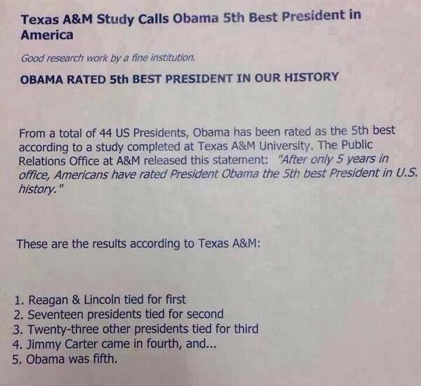 Congrats to Obama for being rated the 5th best President in our history. #tcot http://t.co/y8etIMsGqL
