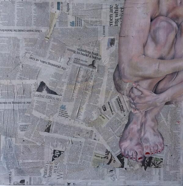 i LOVEE this! @sjartist: Nude on news. Oil,canvas,newspaper, glue. 65cmx65cm. Completed today. http://t.co/bXAm4V38v7