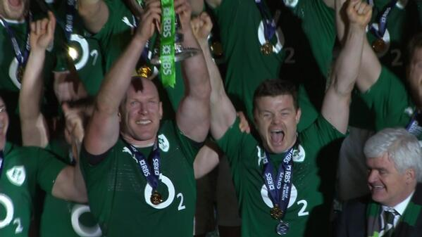 Paul O'Connell lifts the Six Nations trophy. Ireland are the champions. http://t.co/Pd2iwR6SeW