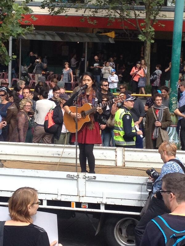 Opening singer at #MarchInMarch in #Melbourne.  This action is about standing up for a decent Australian society. http://t.co/EYWV2gGfwO