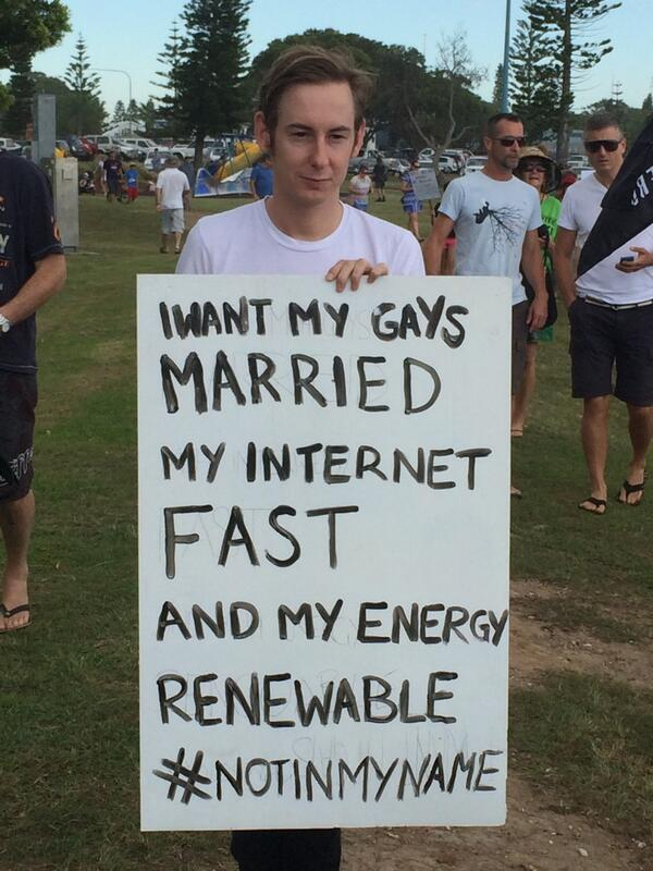 "Ruben Everingham, 23. First time protestor. Why? ""As the sign says..."" Port Macquarie #MarchinMarch #NoFibsMIM http://t.co/fiDwzyobiK"