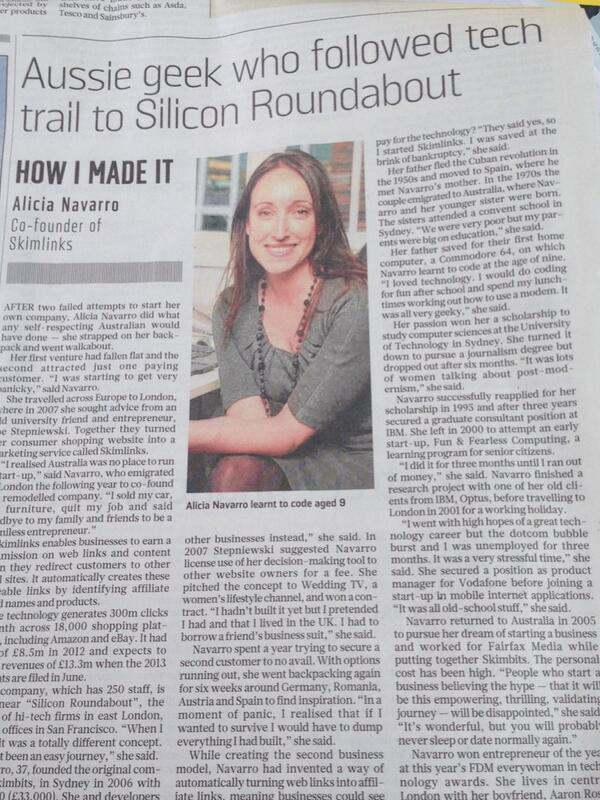 Alicia Navarro @Skimlinks learned to code aged 9. Now revenues >$20m. Great story in Sunday Times. http://t.co/akQANUkJRe