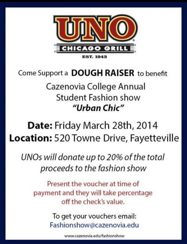 UNOs fundraiser is TODAY! Enjoy a meal at UNOs while supporting the show! Email the fashion show for dinner vouchers. http://t.co/7q8CLU8HDZ