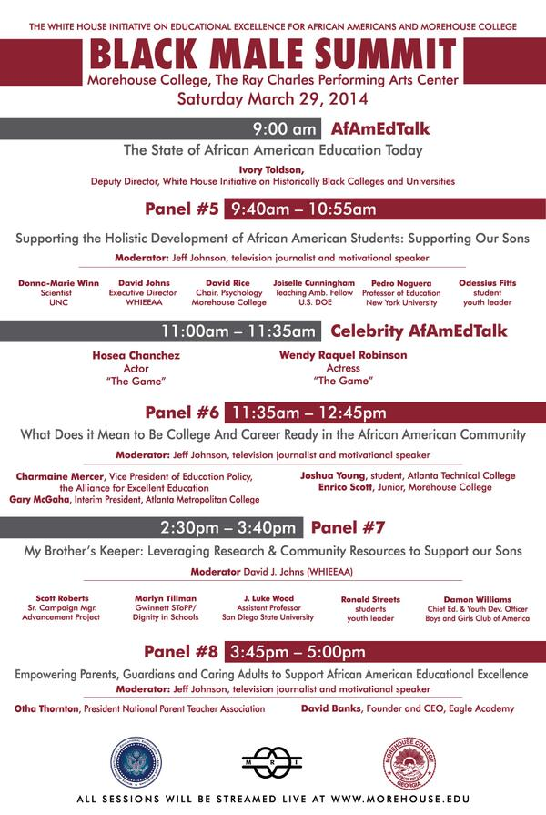 Here's a sneak peak at tomorrow's power house events. Follow #AfAmEdSummit for live tweeting from the events! http://t.co/BOqCpdHMLt