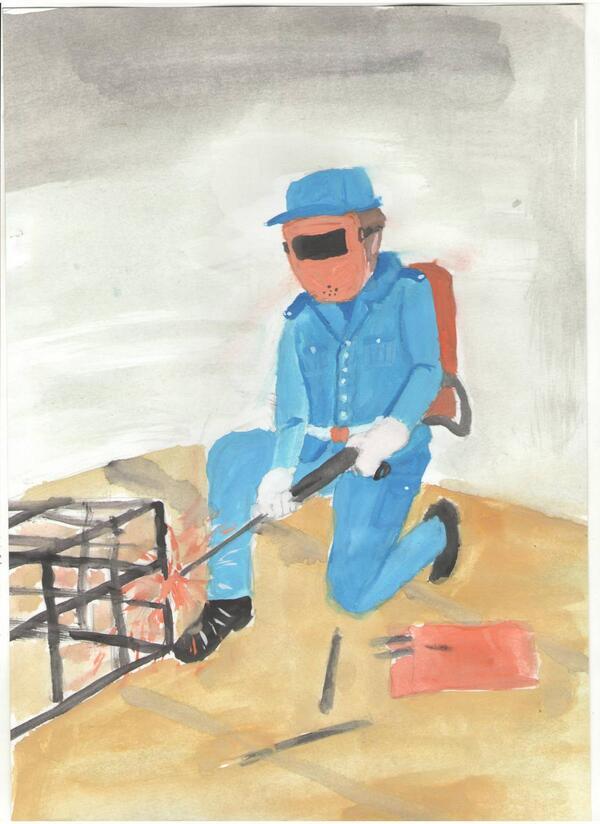 детский рисунок профессия строитель