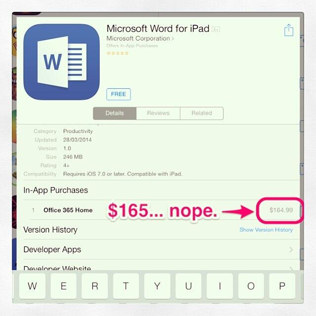 Twitter / jnxyz: MS Office 4 iPad - is it free? ...