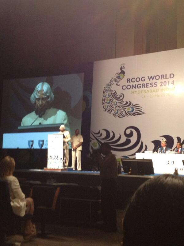 His excellency APJ Abdul Kalam delivers his address at the inauguration. #rcog2014 http://t.co/Z1NfbF44Wi