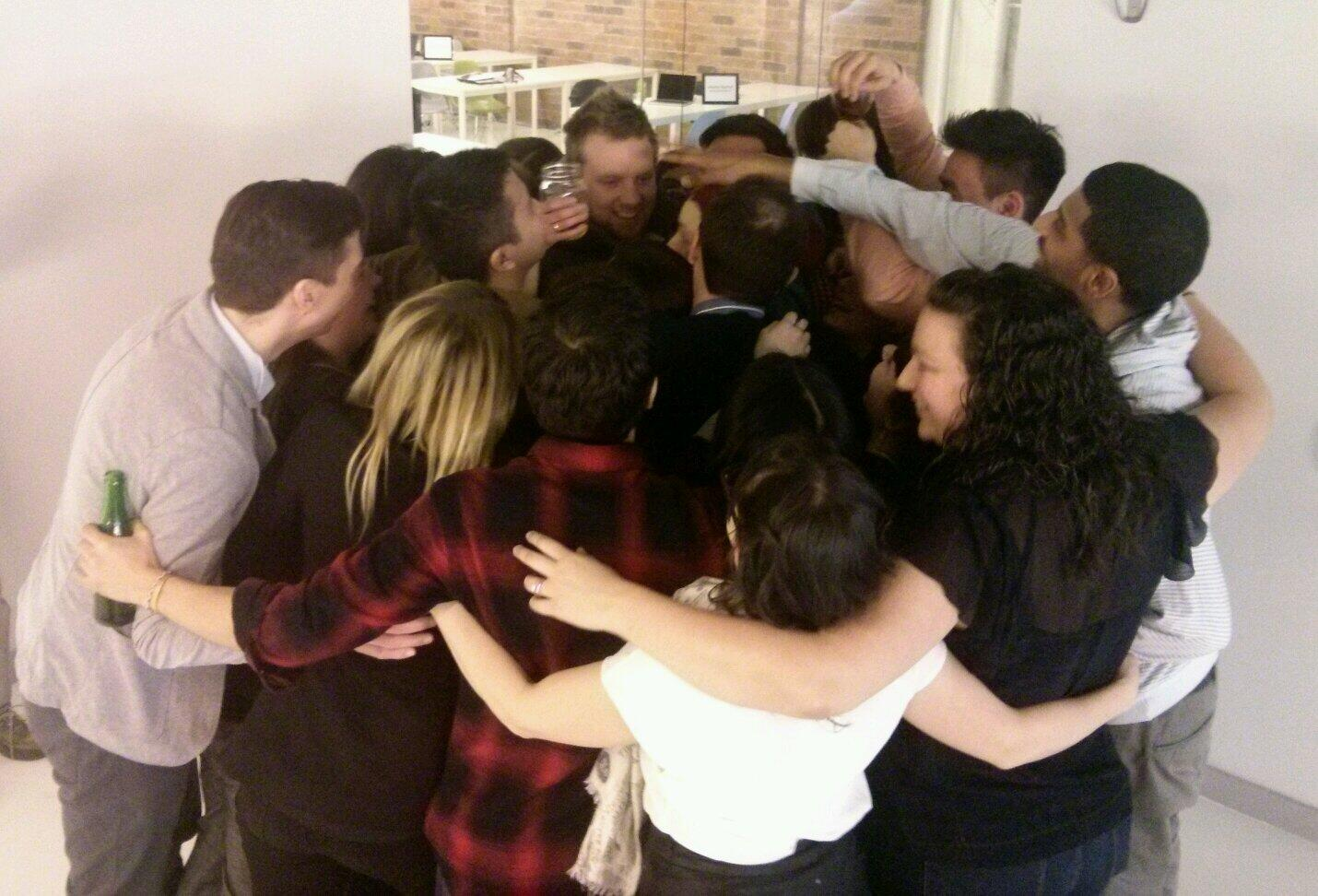 HackerYou students hug Wes goodbye