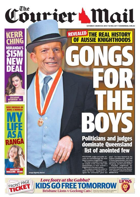 How on fire is @wrongdorey  here is today's courier mail splash on Abbott's knighthood rubbish http://t.co/ZNm2MxLbI6