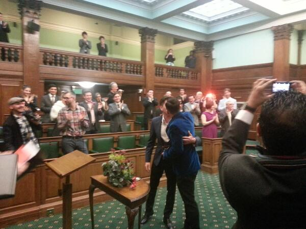 """You may now kiss the groom"". Gay couple marry in historic moment in Camden Town Hall. #equalmarriage http://t.co/GOquLNSo72"