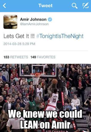 When we saw this @IamAmirJohnson tweet! #RTZ #PlayoffsBaby http://t.co/BfTEXwuy4k