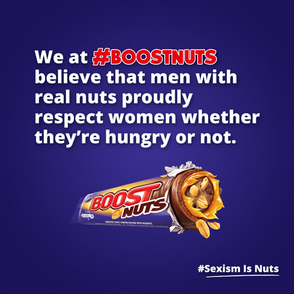 Thank you #SnickersAustralia for starting the debate... #boostnuts #sexismisnuts http://t.co/FbE1qjG9iO