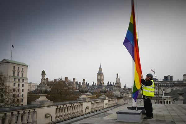 Rainbow flag flying over Cabinet Office & Scotland Office today to mark first same sex marriages   #EqualMarriage http://t.co/a7xi0dJmn1