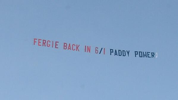 Paddy Power fly a 2nd plane banner over Old Trafford, reading Fergie back in 6/1