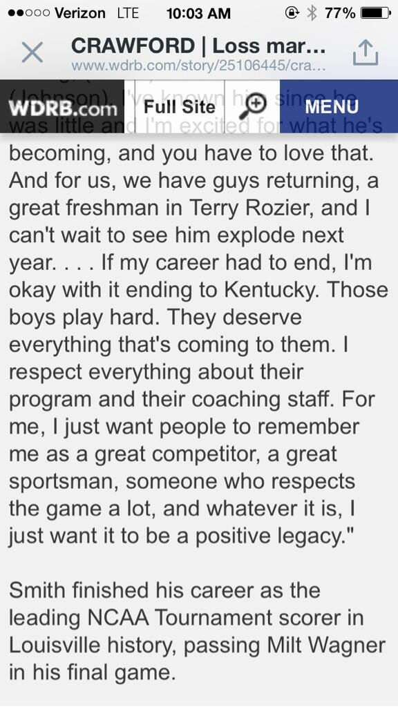 Nothing but the utmost respect for Russ Smith. His post-game quotes were pure class from start to finish. http://t.co/xrJImuJLpp