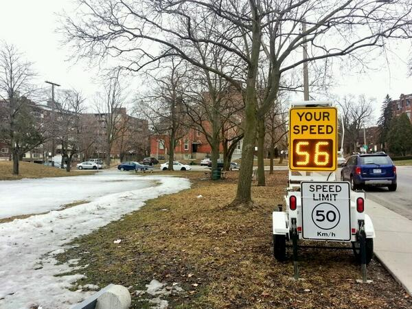 Vehicle measured at 56 km/h on Herkimer Street next to Durand Park on Saturday, March 29, 2014